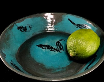 Slate Blue and Turquoise Shallow Dish with Feathers