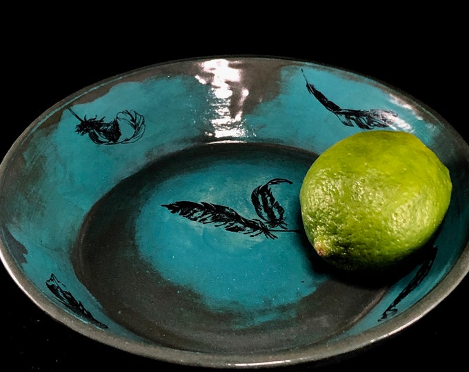 Featured listing image: Slate Blue and Turquoise Shallow Dish with Feathers