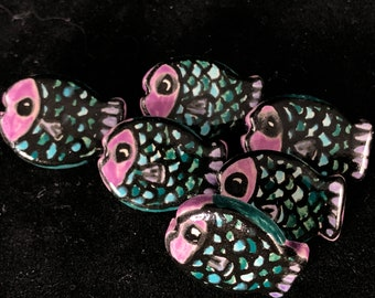 Tiny Fish Purple and Teal Blue Ceramic Buttons