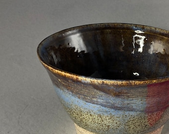 Sienna Brown With Hints of Blue Small Stoneware Serving Bowl