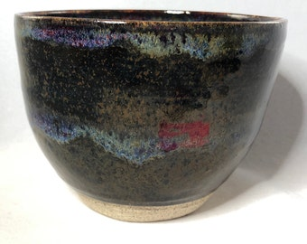 River Rock with Blue and Purple Stoneware Serving Bowl or Noodle Bowl