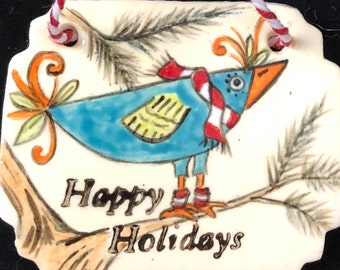 Zany Bird Holiday Ornament