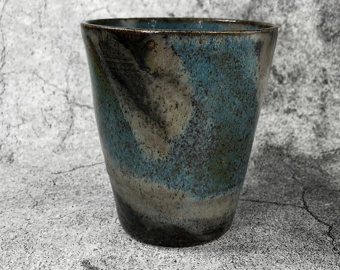 Tourmaline Blue and Copper Stoneware Tumbler