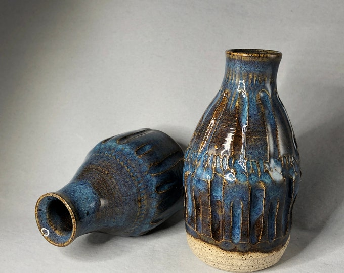 Featured listing image: Textured Blue with Golden Brown Highlights Stoneware Bud Vases
