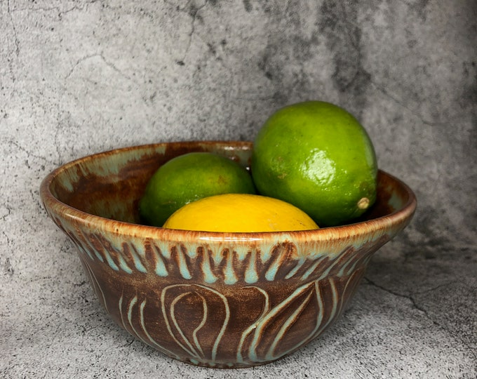Shino Brown and Blue Carved Stoneware Fruit Bowl or Serving Bowl