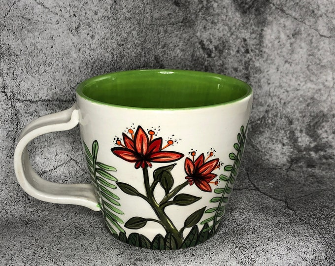 Red Summer Flowers Mug
