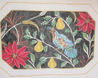"""Hand Painted Needlepoint Canvas, Partridge, Pear Tree, Poinsettias, TS Designs, 12"""" x 18"""""""