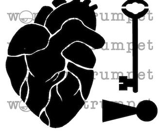 Key to My Anatomic Heart Stencil