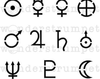Witchy Grimoire Stencil Series: Planet Symbol Stencil