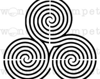Triple Spiral Labyrinth Stencil