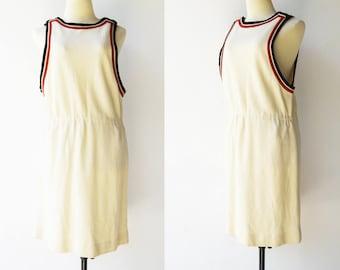 Vintage 1970s Jumper Dress / Rare ALED Wool Jumper Dress / Size M