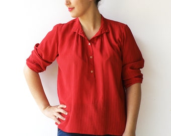Vintage Red Blouse / Semi Sheer Scarlet Shirt / Size L XL
