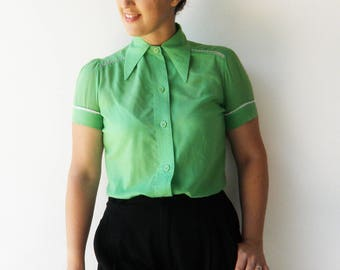 Vintage Green Blouse / Button Up Top / Size M L