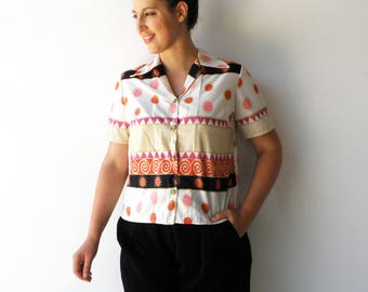 Vintage Novelty Top / Colorful Button Up Blouse / Size L