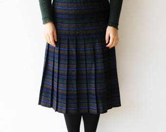 Vintage Sriped Skirt / Pleated Wool Skirt / SIze  L