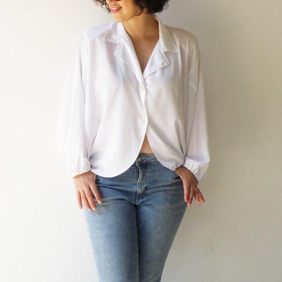 Vintage White Button Up Blouse / Bat Sleeves Cropp