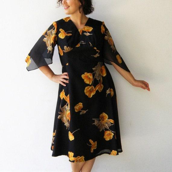 Vintage Chiffon Party Dress / Handmade Black Flora