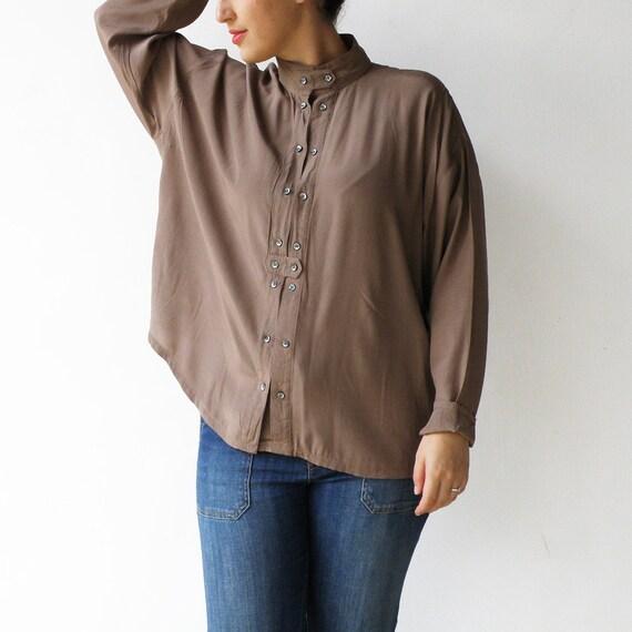 large xl size transparent lace buttons blouse brown green floral print lace blouse