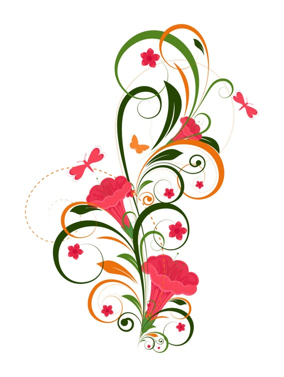 2 Abstract Floral Design Graphic Digital Immediate