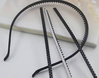 50pcs 17x4.5mm Black Soft Rubber Teeth Strip For 5mm Metal HeadBand metal hairbands/headbands findings
