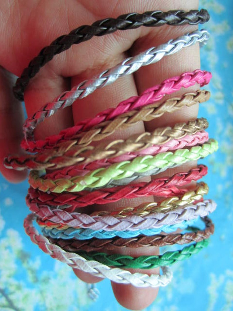 100pcs 7-9 inch adjustable 3mm thickness assorted braided faux leather bracelet cords with lobster clasps