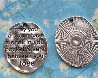 Promotion Sale 15pcs 30x25.5mm antiqued silver may you always have a shell in your pocket and sand between your toes charms findings