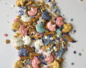 Unicorn Sprinkle Packs | Quins Jimmies, Sugar and Sprinkle Shapes| DIY decorating party supplies | Individual small packs