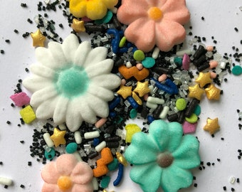 Spring Sprinkle Packs | Sugar Flowers Quins Jimmies, Sugar and Sprinkle Shapes| DIY decorating party supplies | Individual small packs