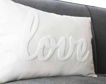 Love Pillow, Decorative Pillow, White Love Pillow, White on White Pillow, White Calligraphy Pillow, Gender Neutral Kids Decoration