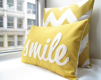 Smile Pillow in Yellow - Home and Living / Decor and Housewares - Mothers Day Gift