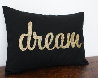 Gold Glitter Dream Pillow - Choose Glitter Letter Color - Home and Living / Decor and Housewares - by Honey Pie Design