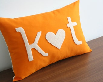 INITIAL PILLOW • Custom Monogram • I Heart You - Christmas Gift • Holiday Gift • Cotton Anniversary Gift