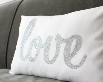 Glitter Love Pillow - Choose Glitter Letter Color - Home and Living / Decor and Housewares - by Honey Pie Design