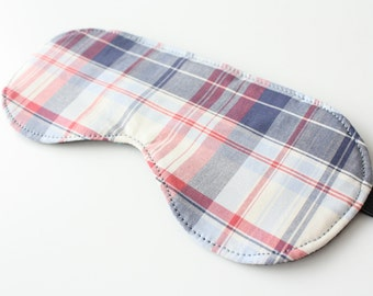 Plaid Sleep Mask - Eye Mask - Father's Day Gift - Travel Accessory - Gift for Dad - Gift for Him