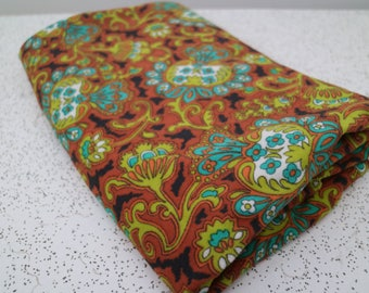 psychedelic in teal and tan...vintage fabric yardage