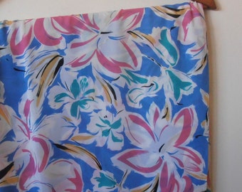 tropical floral...1980s vintage polyester georgette fabric yardage
