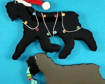 Bouvier des Flandres Christmas or Plain Pin, Magnet or Ornament -Color Choice -Hand Painted- Free Personalization available on the back