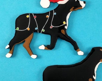 Greater Swiss Mountain Dog Christmas Pin, Magnet or Ornament-Hand Painted- Free Personalization available on the back