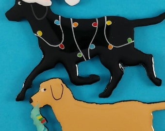 Labrador Retriever Christmas Pin,Magnet or Ornament- Color Choice-Hand Painted- Free Personalization Available on the back