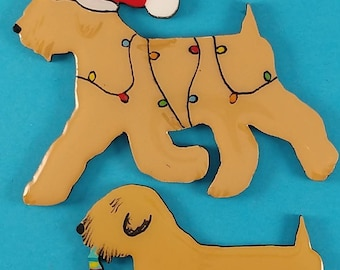 Soft Coated Wheaten Christmas or Plain Pin, Magnet or Ornament -Color Choice - Hand Painted- Free Personalization  Available on the back
