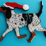 Black/tan, Bluetick or Redbone Coonhound Christmas Pin, Magnet or Ornament -Free Shipping -Hand Painted- Free Personalization Available