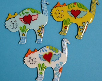 Whimsical Angel Heart Kitty Cat in Pin, Magnet or Ornament-  Hand Painted