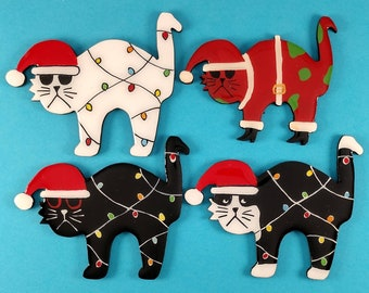 Christmas Santa Kitty Cat Pin, Magnet or Ornament in White, Black or Tuxedo- Hand Painted