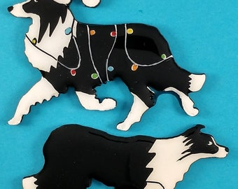 Border Collie Christmas Pin, Magnet or Ornament-Color and Style Choice -Free Personalization available on the back