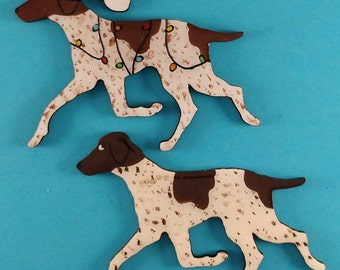 German Short Haired Pointer Christmas or Plain Pin, Magnet or Ornament-Color Choice-Hand Painted- Free Personalization available on the back