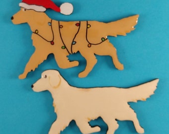 Golden Retriever Christmas Pin, Magnet or Ornament- Color Choice-Hand Painted- Free Personalization available on the back