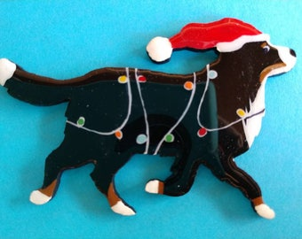 Bernese Mountain Dog Christmas Pin, Magnet or Ornament -Free Shipping -Hand Painted- Free Personalization Available
