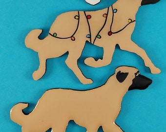 Anatolian Shepherd Dog Christmas or Plain Pin, Magnet or Ornament-  Hand Painted- Free Personalization available on the back