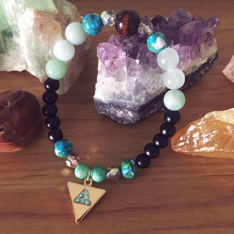 Gold Triangle and Gemstones Beaded Stretch Bracelet