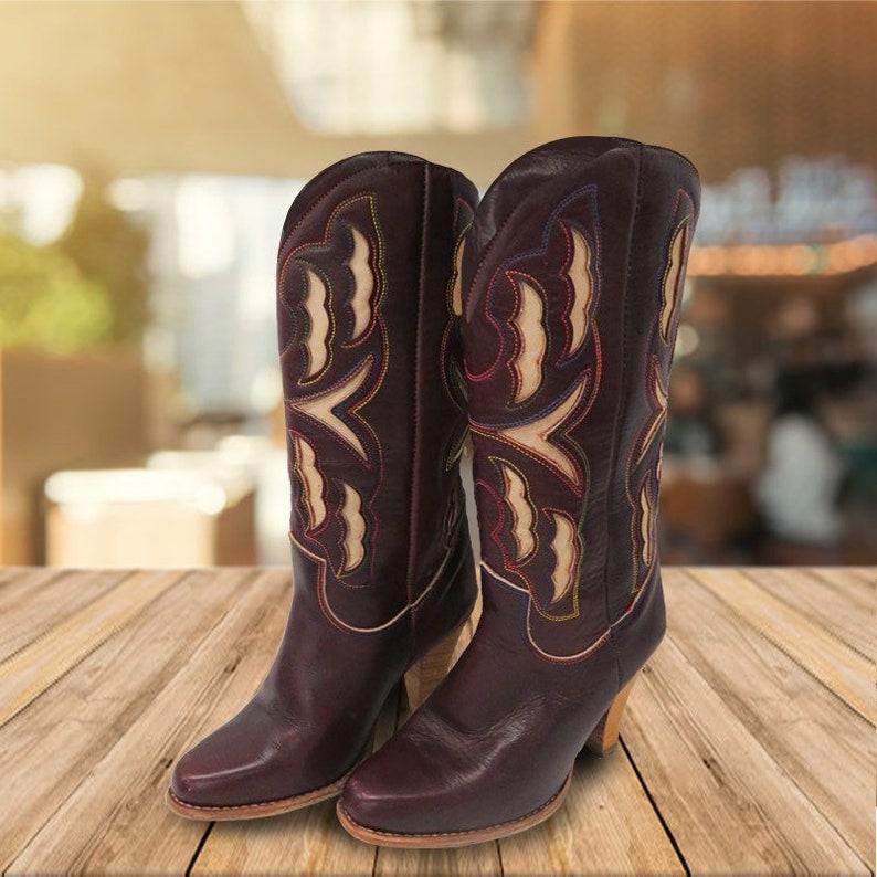 3d93c74c4cd Vintage Zodiac Women's High Heel Western Cowboy Boots Size 6.5 Boho Desert  Festival Boots